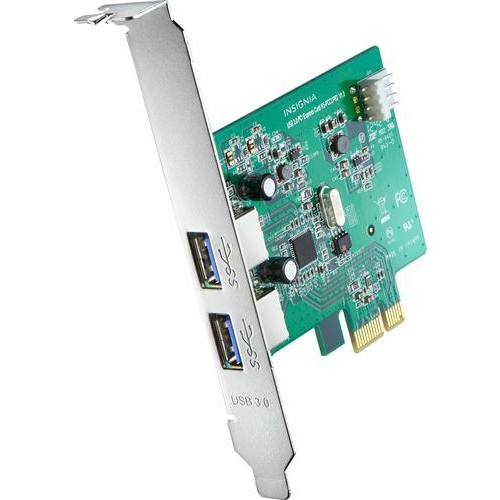 Insignia - 2-Port USB 3.0 PCI Express Host Card - Silver