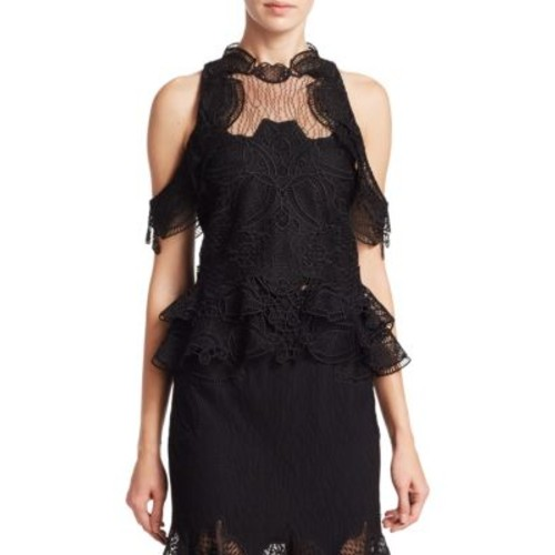 JONATHAN SIMKHAI Lace Window Cold Shoulder Top