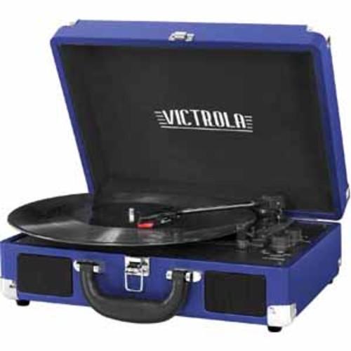 Victrola 3-Speed Vintage Bluetooth Suitcase Turntable - Cobalt Blue