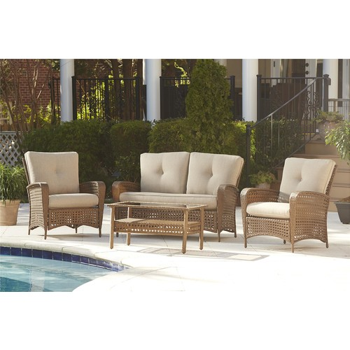 Cosco Home and Office Products 4-Piece Lakewood Ranch Steel Woven Conversation Patio Set