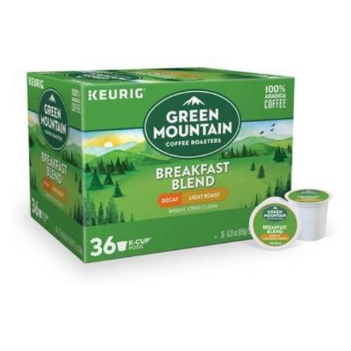 Green Mountain Breakfast Blend Light Roast Coffee - Decaf - K-Cup Pods - 36ct
