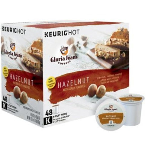 Gloria Jean's Keurig K-Cup Pods, 48 Count, Hazelnut or Butter Toffee