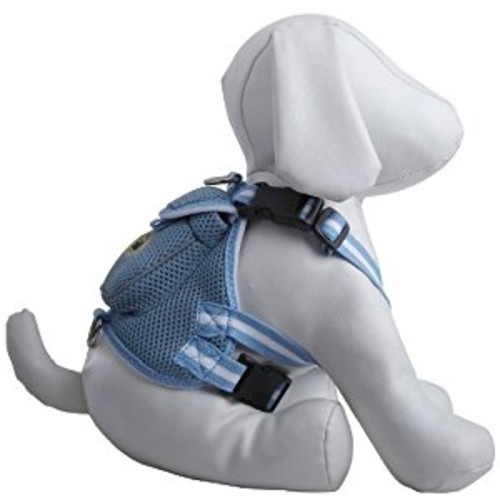 Pet Life Mesh Dog Harness Backpack with Pouch [Blue, Small]