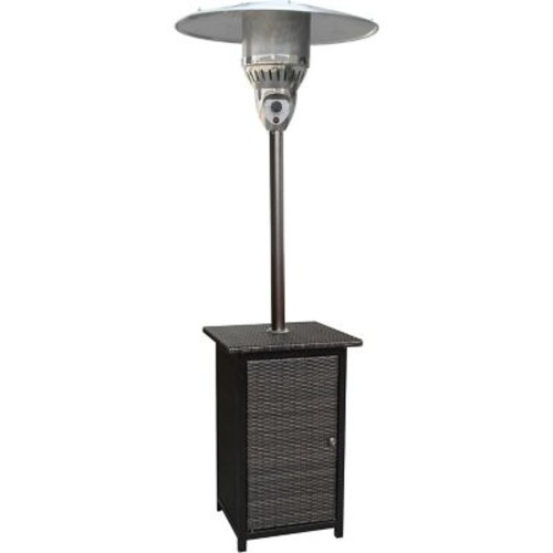 Hanover 7-Ft. 41,000 BTU Square Wicker Propane Patio Heater in Brown/Hammered Bronze