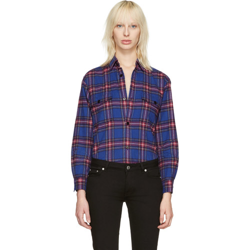 SAINT LAURENT Blue Check Oversized Shirt
