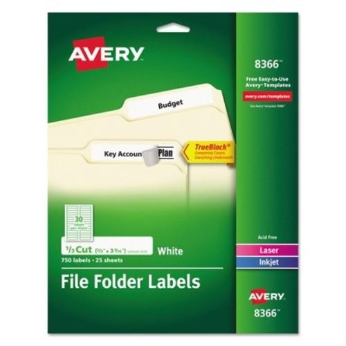 Avery 08366, Permanent File Folder Labels, TrueBlock, Laser/Inkjet, White, 750/Pack