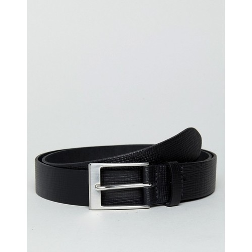 ASOS Smart Slim Belt In Black Leather With Saffiano Emboss