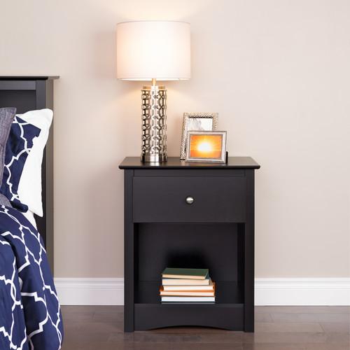 Prepac Manufacturing Ltd Sonoma 1-drawer Tall Nightstand, Black