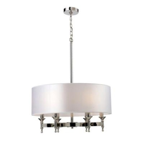 Titan Lighting Pembroke 6-Light Polished Nickel Chandelier With Light Silver Fabric Shade