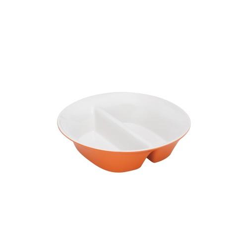 Dinnerware Round & Square 12-Inch Stoneware Divided Dish, Orange
