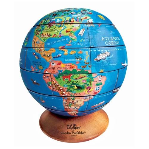 T.S. Shure 3D PuzGlobe Desktop Wooden Puzzle Globe