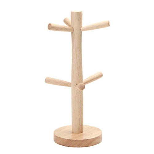 Mind Reader Tree Wood 6-Mug Holder, Brown