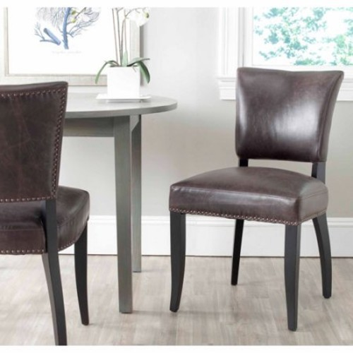 Safavieh Desa Bicast Leather Upholstery Side Chair, Antique Brown (Set of 2)