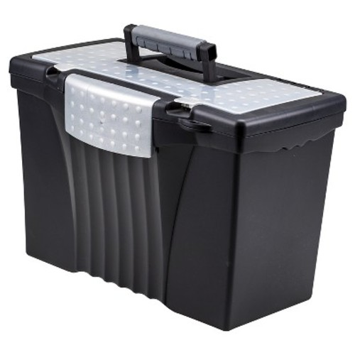Storex Portable File Box with Lockable Lid - Black with Gray Top