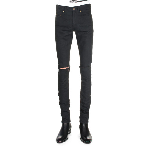 SAINT LAURENT Split-Knee Destroyed Denim Jeans, Black