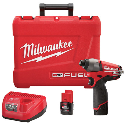Milwaukee M12 FUEL Cordless Impact Driver Kit  1/4in. Hex, 100 Ft.-Lbs. Torque, 2 Compact Batteries, Model# 2453-22
