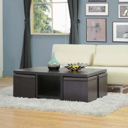 Baxton Studio Prescott Modern Table and Stool Set in Dark Brown