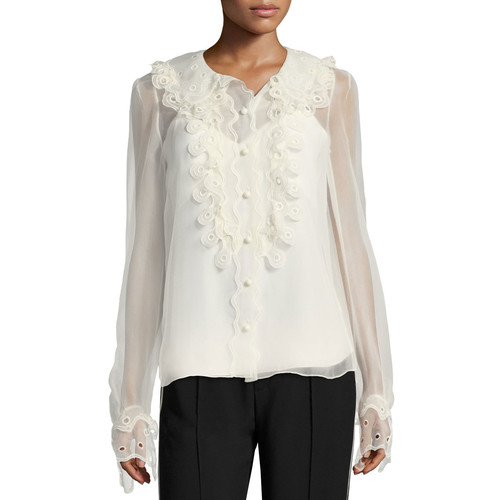 CHLOE Circle Lace Silk Blouse