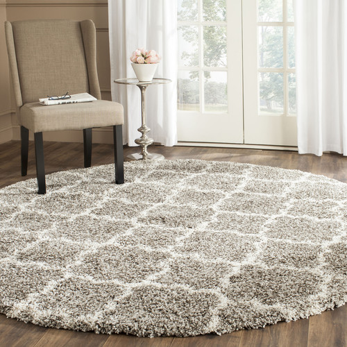 Safavieh Hudson Theron Shag Gray/Ivory Round Indoor Moroccan Area Rug (Common: 9 x 9; Actual: 9-ft dia)