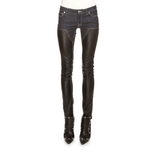 GIVENCHY Denim & Leather Slim-Fit Jeans