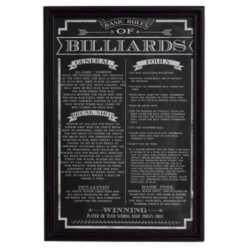 Hathaway Billiard Game Rules Wall Art - Black