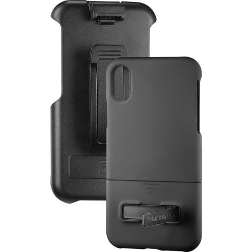 Platinum - Protective Case with Holster for Apple iPhone X - Black