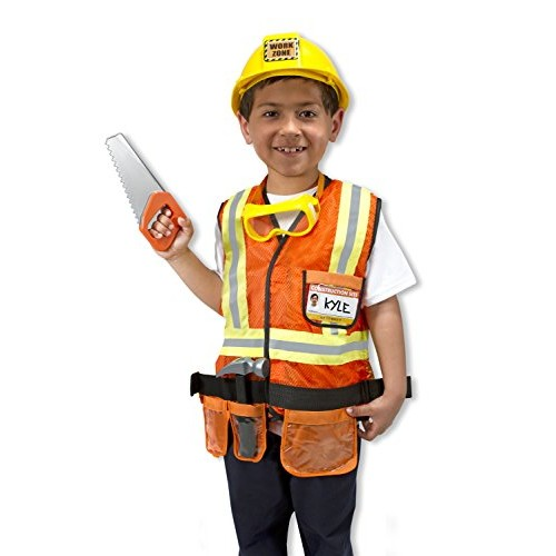 Melissa & Doug Construction Worker Role Play Costume Dress-Up Set (6 pcs)