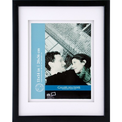 GALLERY SOLUTIONS 11x14 Black Wood Wall Frame with 8x10 White Double Mat Opening #05FW1581 [11 inches x 14 inches]