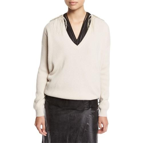 BRUNELLO CUCINELLI Cashmere V-Neck Boyfriend Sweater With Feather Trim