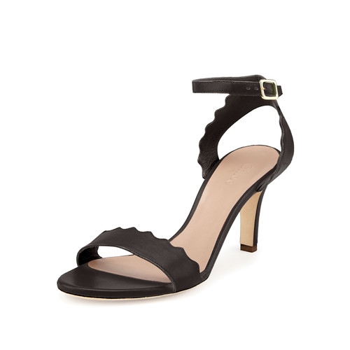Chloe Scalloped Leather Sandal, Black