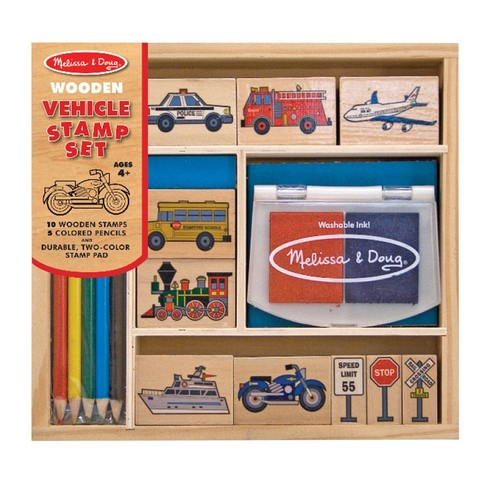 Melissa & Doug Wooden Stamp Set: Vehicles - 10 Stamps, 5 Colored Pencils, 2-Color Stamp Pad [Vehicles]