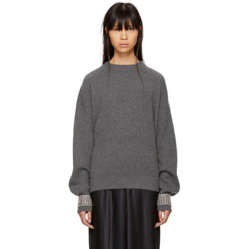 ALEXANDER WANG Grey Crystal Cuff Crewneck Sweater