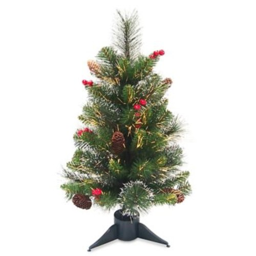 National Tree Company 2-Foot Pre-Lit Fiber Optic Crestwood Spruce Artificial Christmas Tree