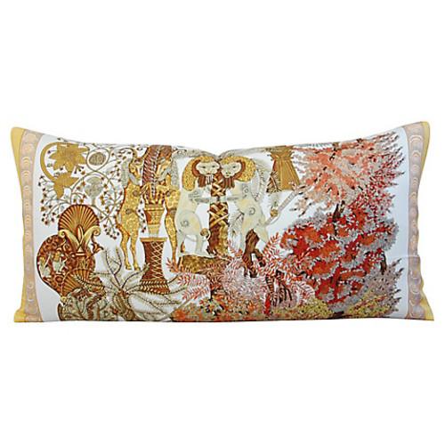 Herms Annie Faivre Silk Lumbar Pillow