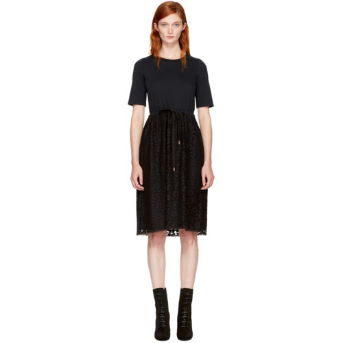 SEE BY CHLOÉ Black Lace & Cotton Dress