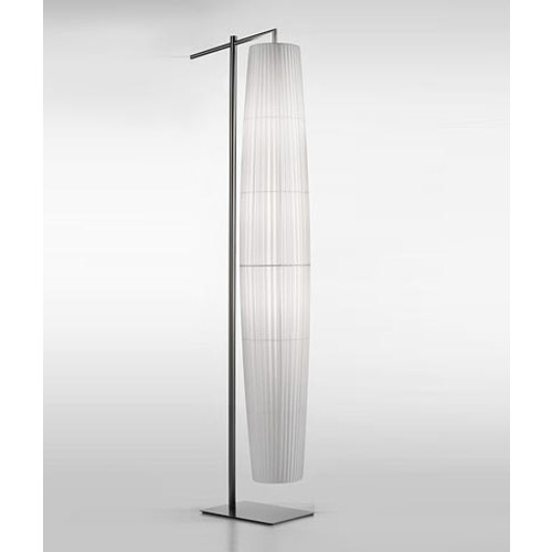 Maxi 02 Floor Lamp [Finish : Satin Nickel; Lamp Shade : Top Cream Ribbon; Light : Incandescent]