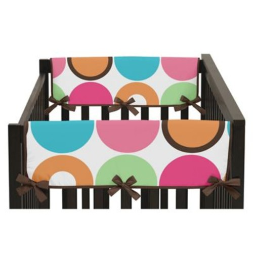 Sweet Jojo Designs Deco Dot Side Crib Rail Covers in Hot Pink/White (Set of 2)