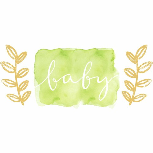 RoomMates 5 in. x 19 in. Kathy Davis Baby Watercolor 3-piece Peel and Stick Giant Wall Decals