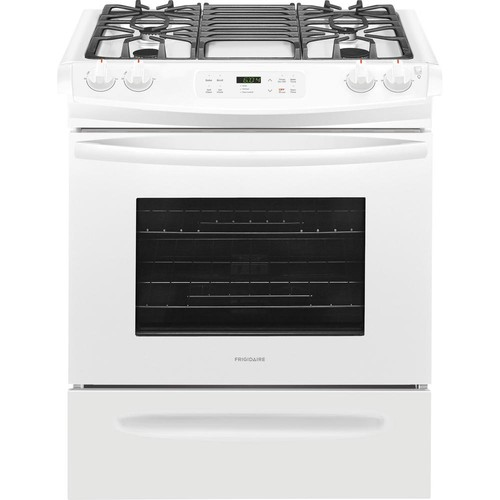 Frigidaire 30 in. 4.6 cu. ft. Slide-In Gas Range with Self-Cleaning Oven in White