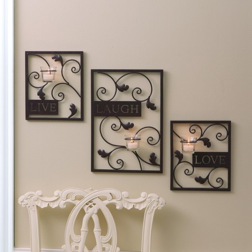 Essential Home Wall Tealight Holders live, Laugh and Love