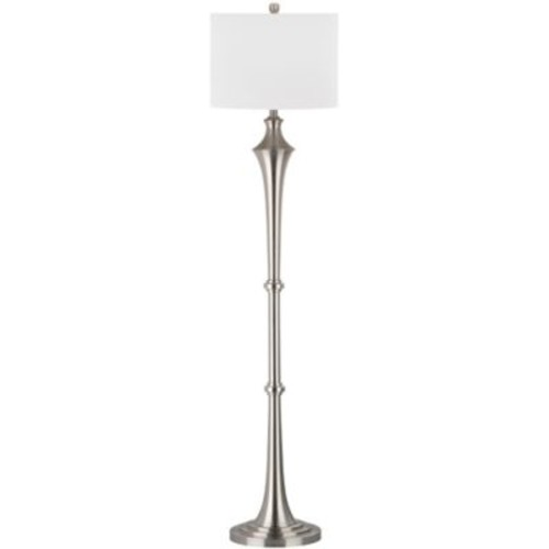 Safavieh Chesterfield Floor Lamp in Nickel with Cotton Shade