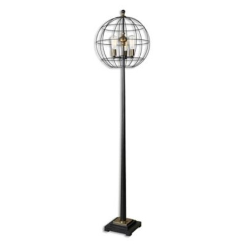 Uttermost Palla Floor Lamp in Aged Black with Cage Shade