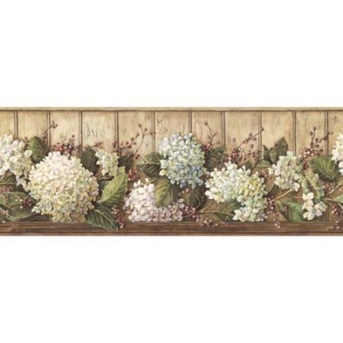 York Wallcoverings Best of Country Hydrangea Wallpaper Border