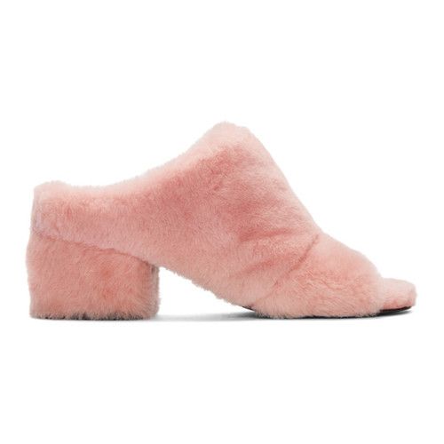 Pink Shearling Cube Mules