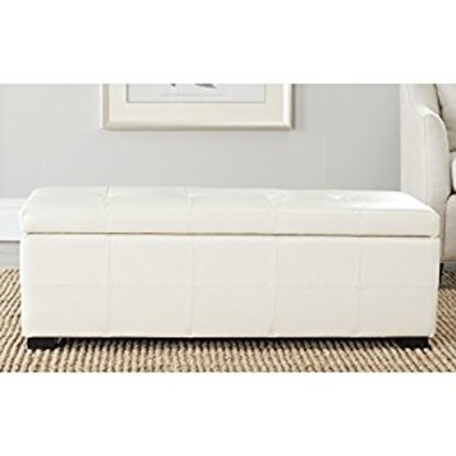 Safavieh Hudson Collection NoHo Tufted Cream Leather Large Storage Bench [Cream]