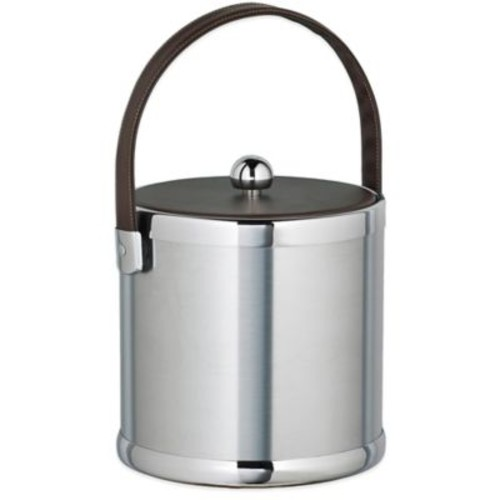 Kraftware Americano Brushed Chrome 3 qt. Ice Bucket with Brown Leatherette Lid