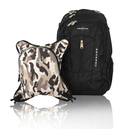 Obersee Bern Diaper Bag Backpack with Detachable Cooler, Black/Camo