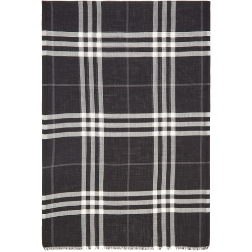 BURBERRY Black Giant Check Scarf