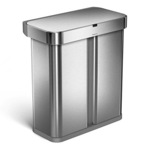 simplehuman 58-Liter Voice Activated Dual Recycling Trash Can in Brushed Stainless Steel