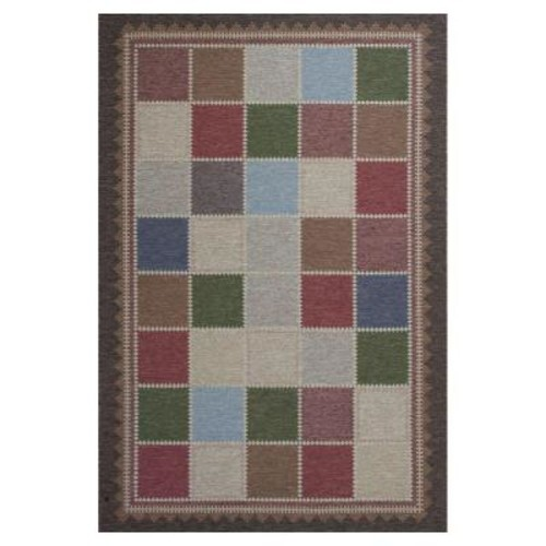 Kas Rugs Quilted Charm Brown/Ivory 6 ft. 9 in. x 9 ft. 6 in. All-Weather Patio Area Rug